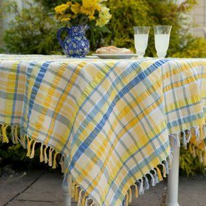 SOLD!April Cornell Seersucker Tablecloth 54x54 NWT